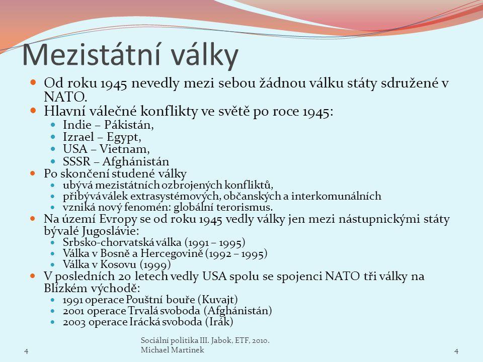 Mezistátní války Od roku 1945 nevedly mezi sebou žádnou válku státy sdružené v NATO. Hlavní válečné konflikty ve světě po roce 1945:
