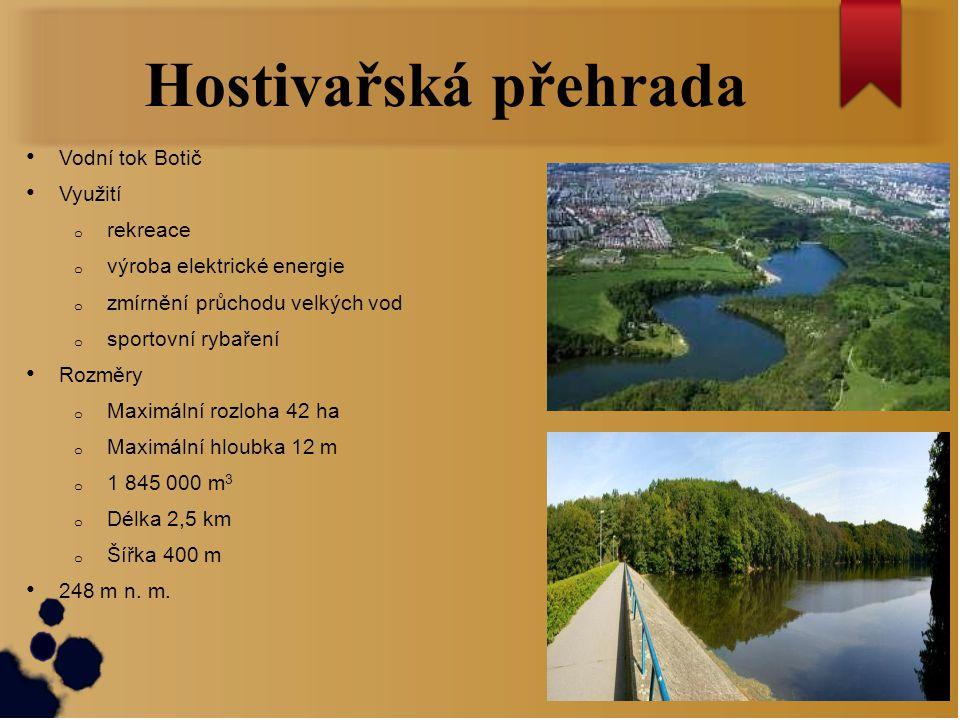 Hostivařská přehrada Vodní tok Botič Využití rekreace