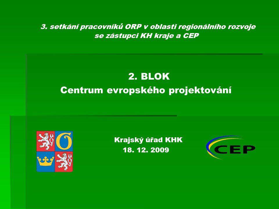 3. setkání pracovníků ORP v oblasti regionálního rozvoje se zástupci KH kraje a CEP 2.