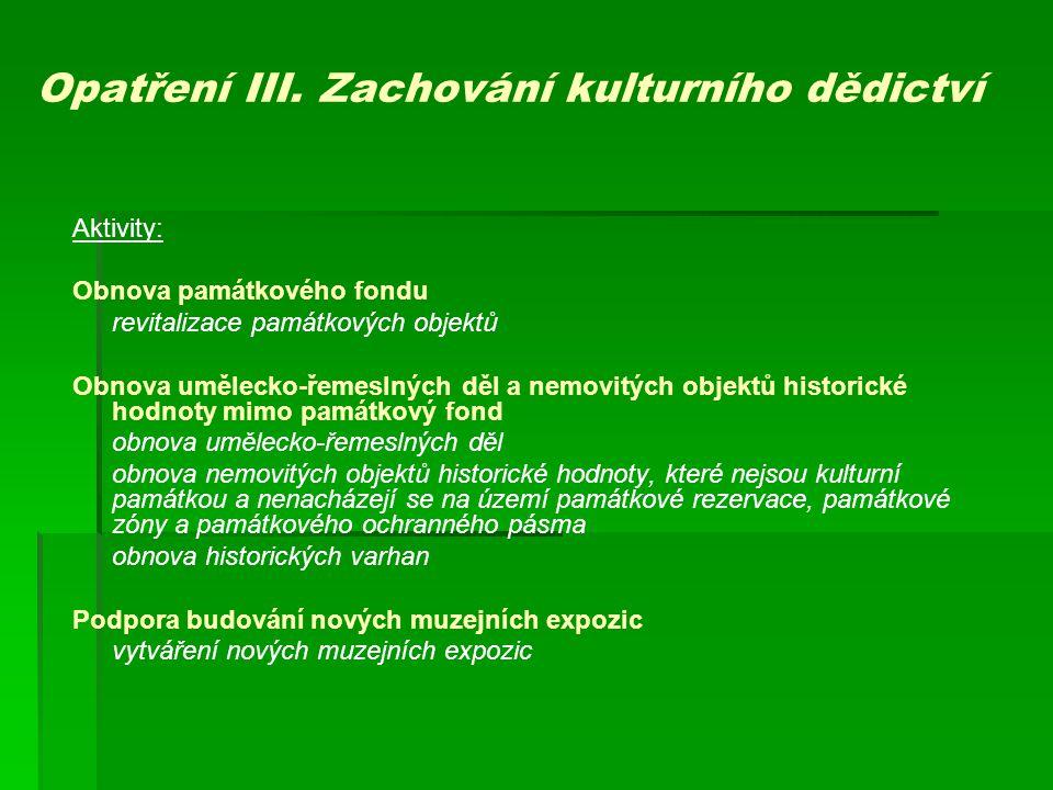 Opatření III. Zachování kulturního dědictví
