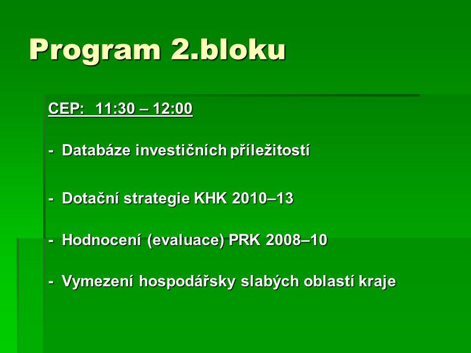 Program 2.bloku CEP: 11:30 – 12:00. - Databáze investičních příležitostí. - Dotační strategie KHK 2010–13.