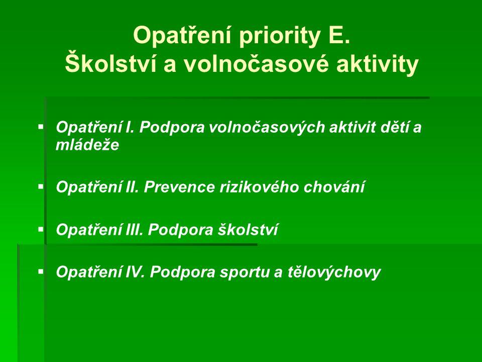 Opatření priority E. Školství a volnočasové aktivity
