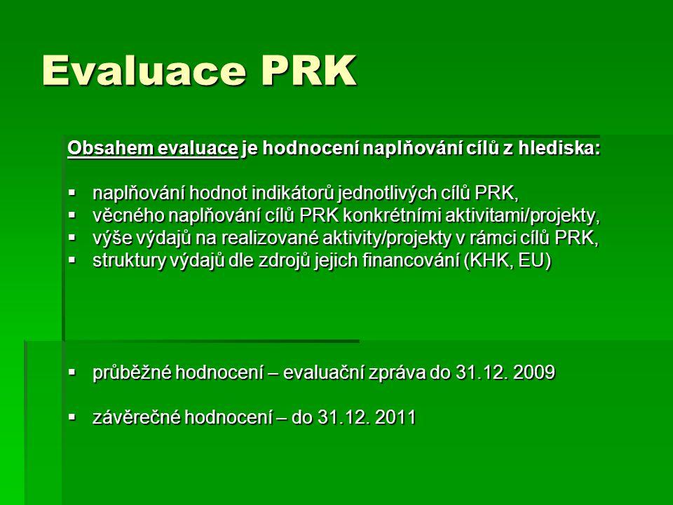 Evaluace PRK Obsahem evaluace je hodnocení naplňování cílů z hlediska: