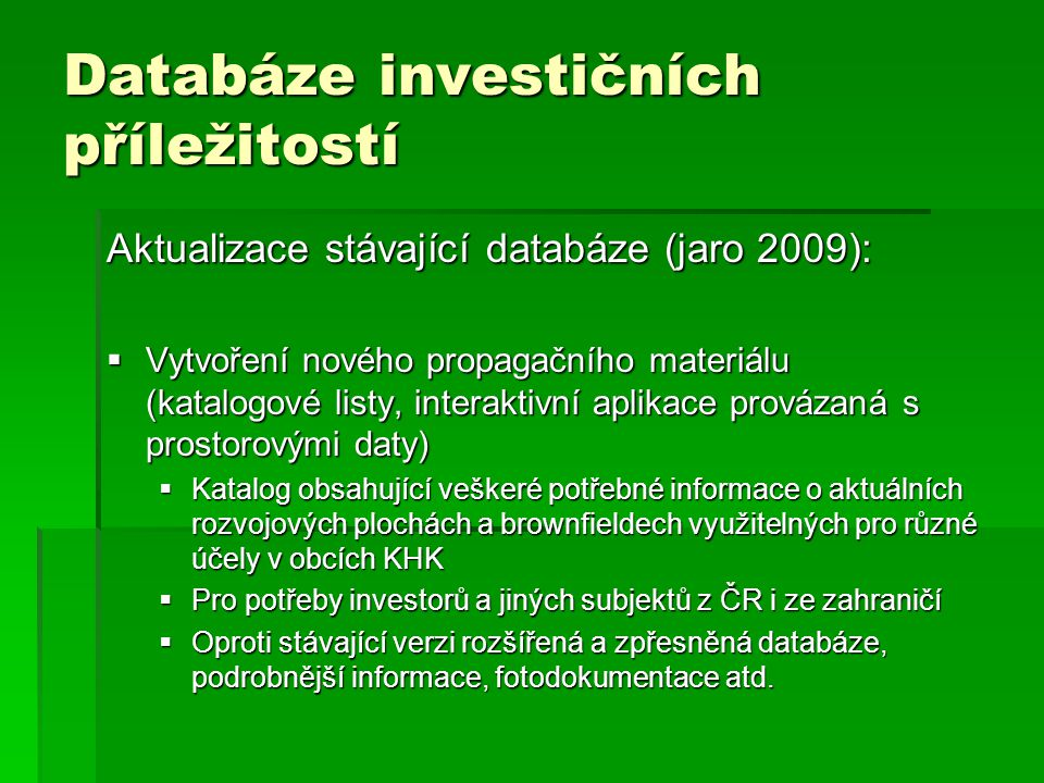 Databáze investičních příležitostí