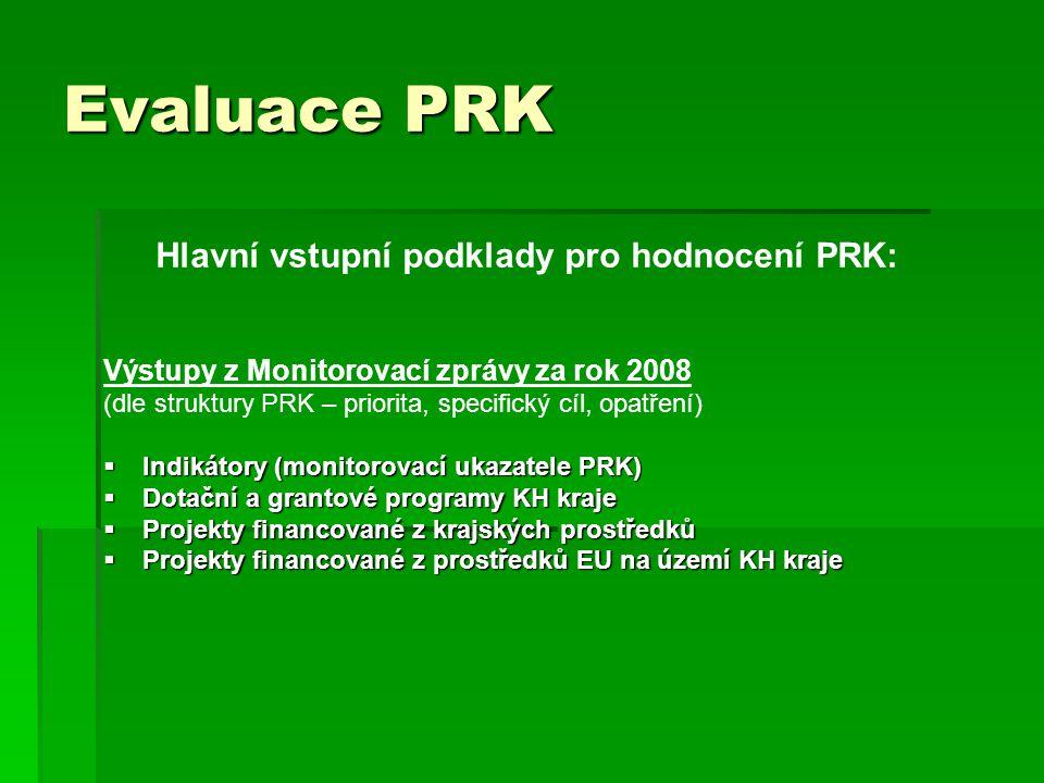 Evaluace PRK Hlavní vstupní podklady pro hodnocení PRK: