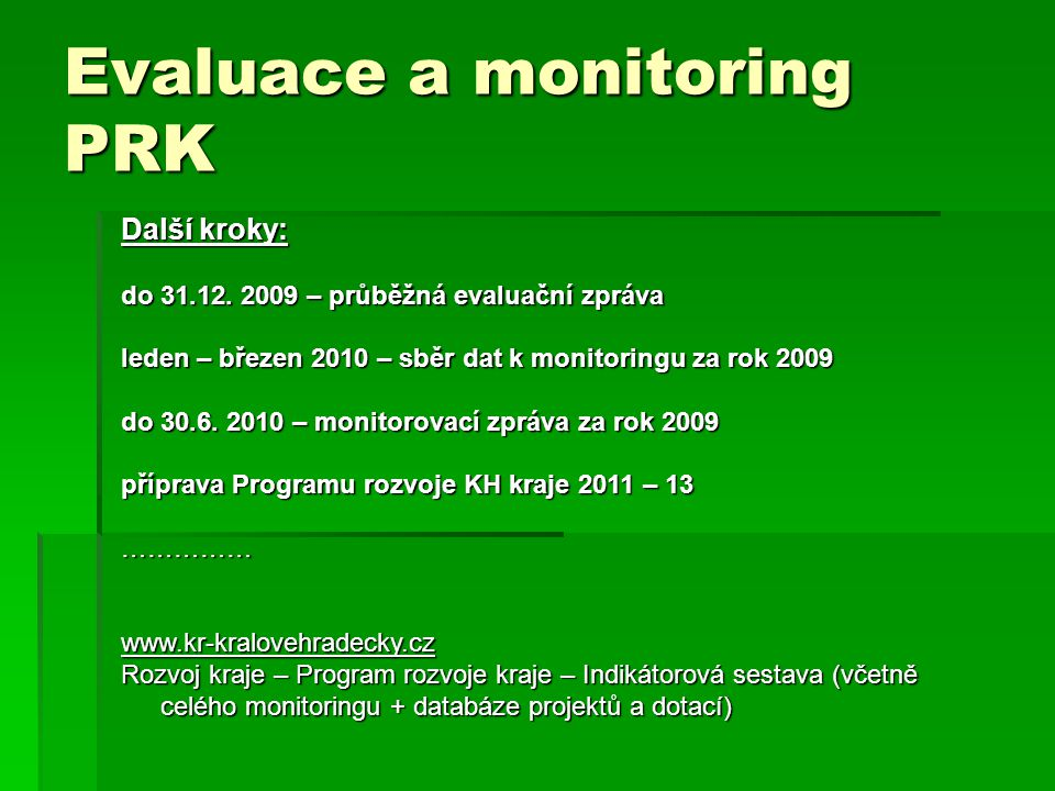 Evaluace a monitoring PRK