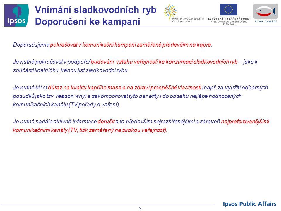 Vnímání sladkovodních ryb Doporučení ke kampani