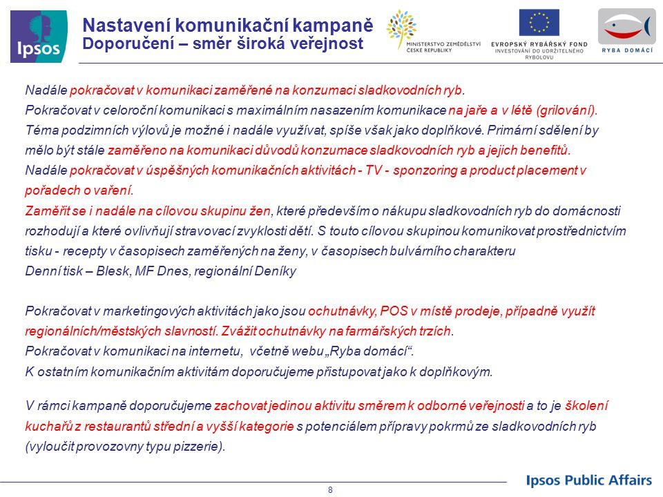 Nastavení komunikační kampaně Doporučení – směr široká veřejnost