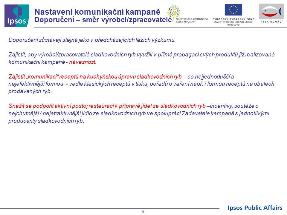 Nastavení komunikační kampaně Doporučení – směr výrobci/zpracovatelé