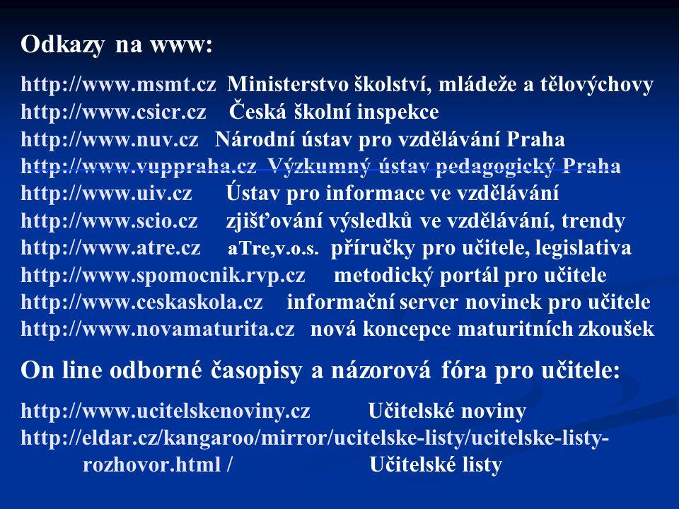 Odkazy na www: http://www. msmt