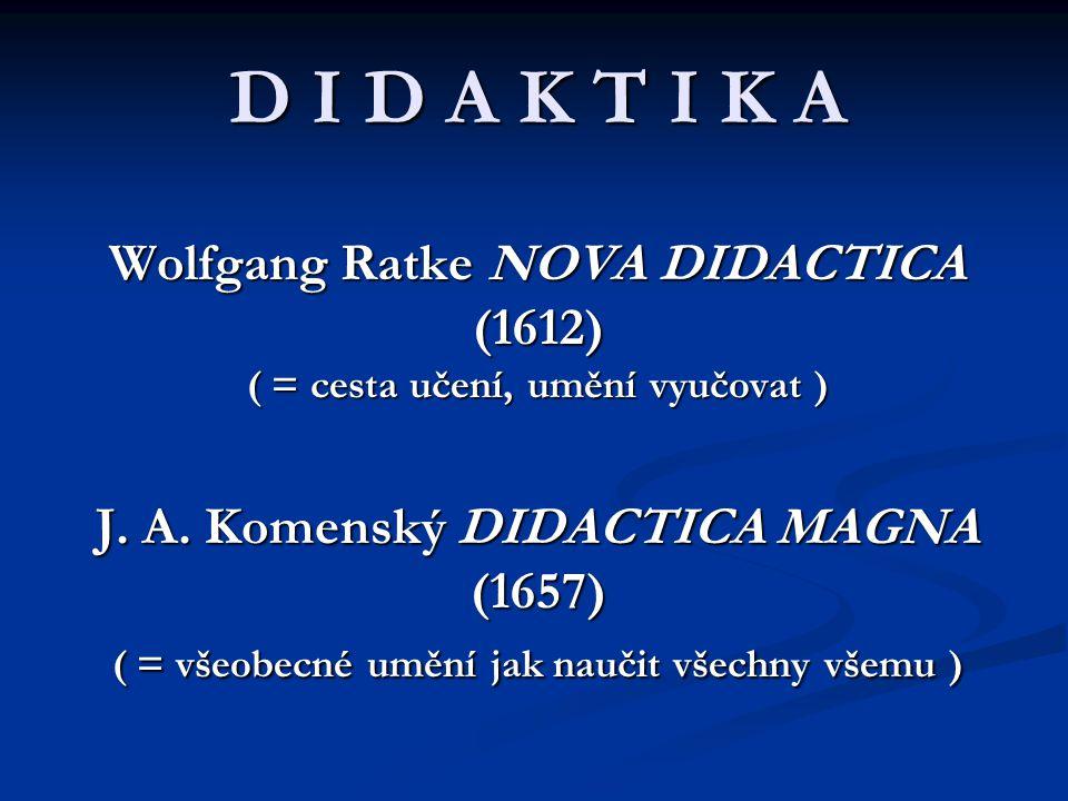 D I D A K T I K A Wolfgang Ratke NOVA DIDACTICA (1612) ( = cesta učení, umění vyučovat ) J.