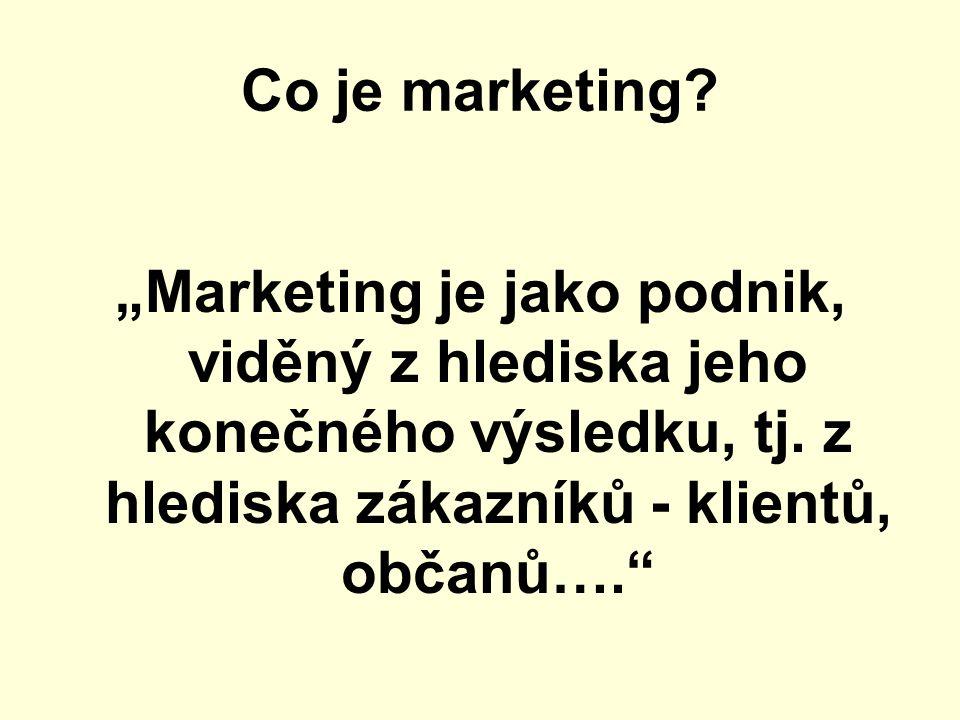 """Co je marketing. """"Marketing je jako podnik, viděný z hlediska jeho konečného výsledku, tj."""