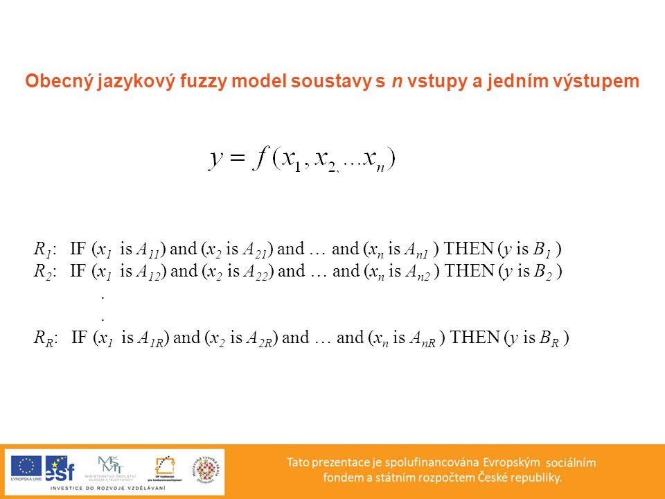Obecný jazykový fuzzy model soustavy s n vstupy a jedním výstupem