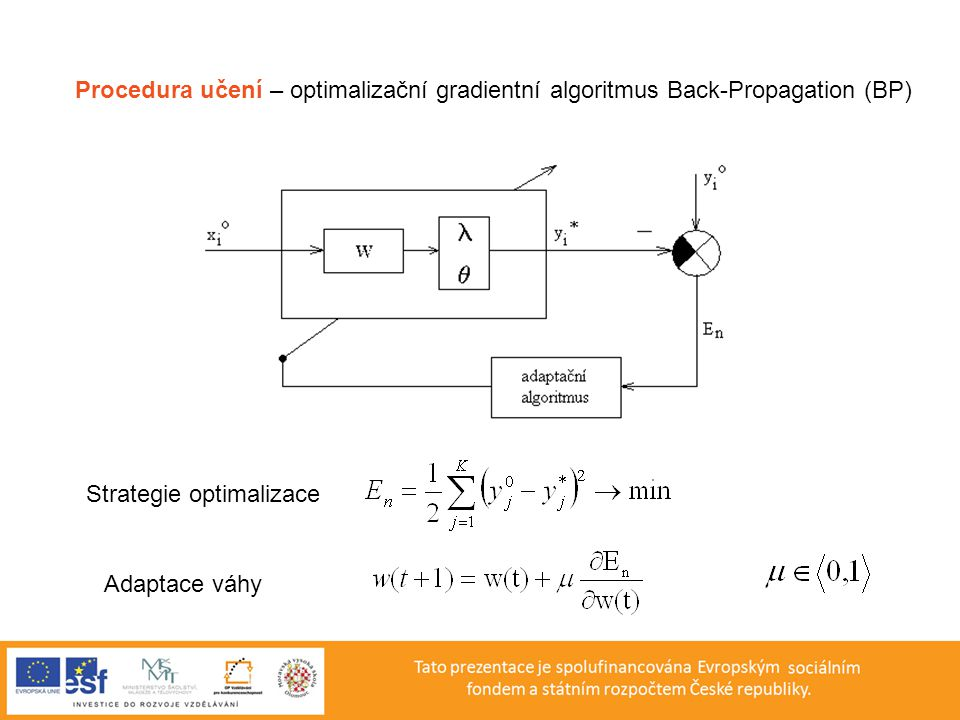Procedura učení – optimalizační gradientní algoritmus Back-Propagation (BP)