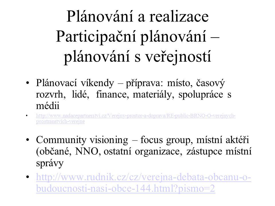 Plánování a realizace Participační plánování – plánování s veřejností