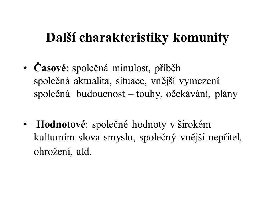 Další charakteristiky komunity