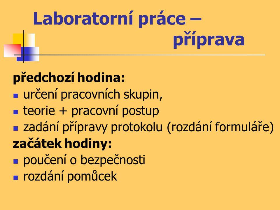 Laboratorní práce – příprava
