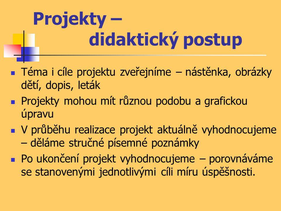 Projekty – didaktický postup