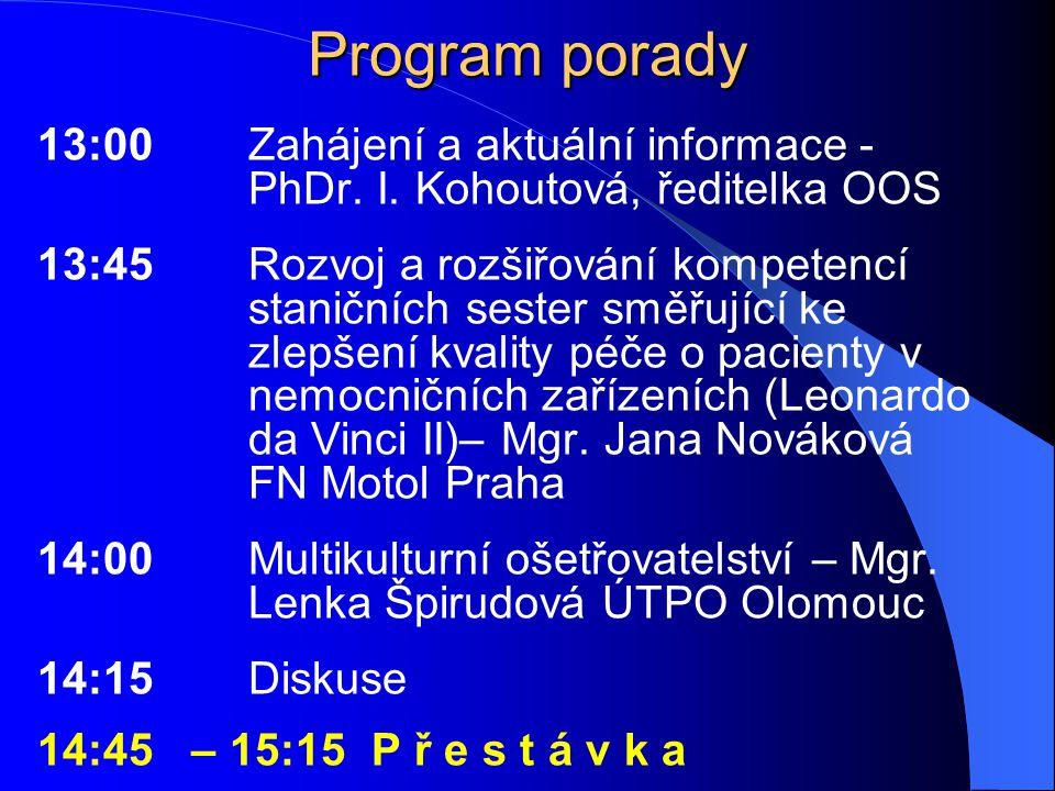 Program porady 13:00 Zahájení a aktuální informace - PhDr. I. Kohoutová, ředitelka OOS.
