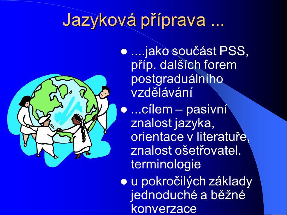 Jazyková příprava ... ....jako součást PSS, příp. dalších forem postgraduálního vzdělávání.