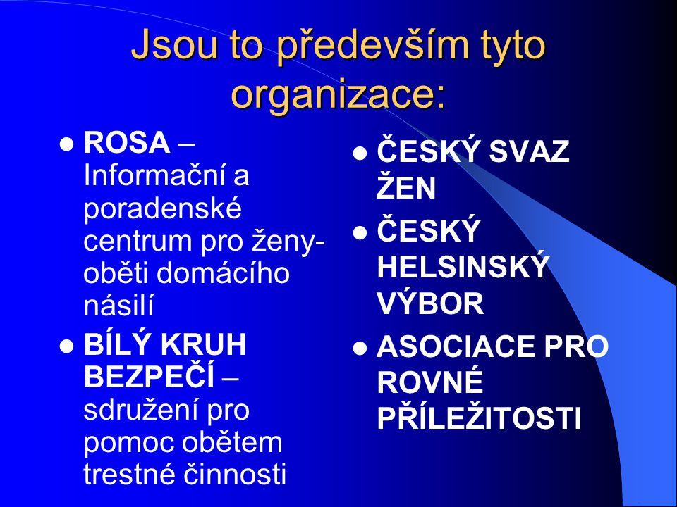 Jsou to především tyto organizace: