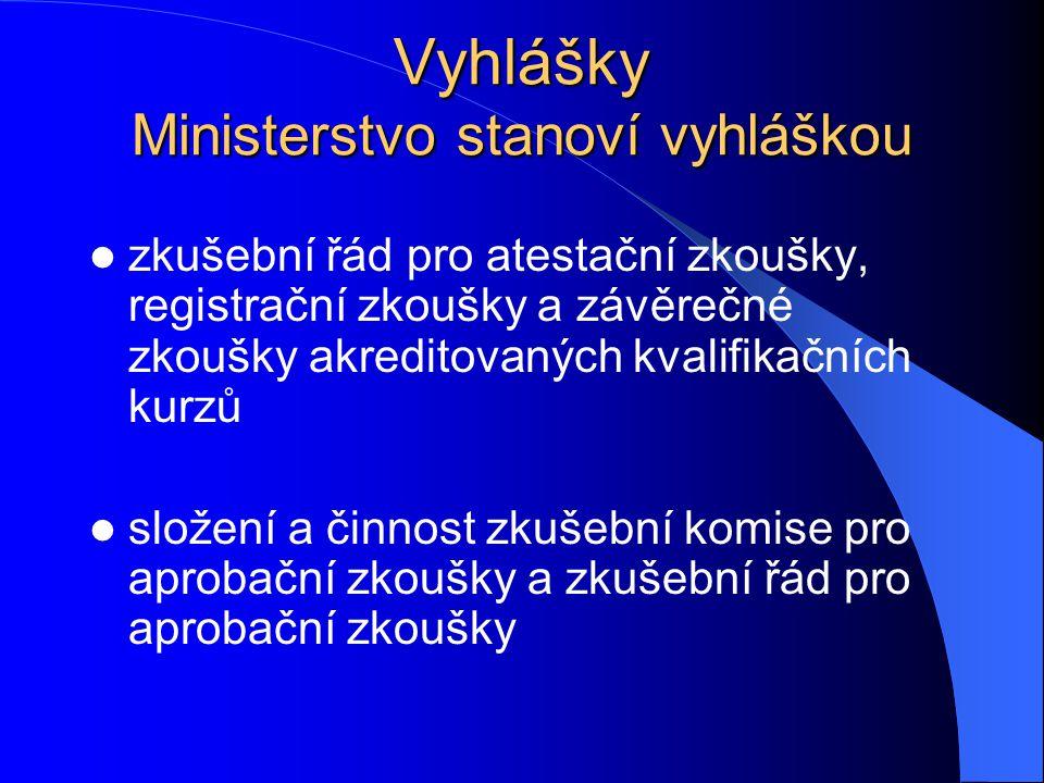 Vyhlášky Ministerstvo stanoví vyhláškou