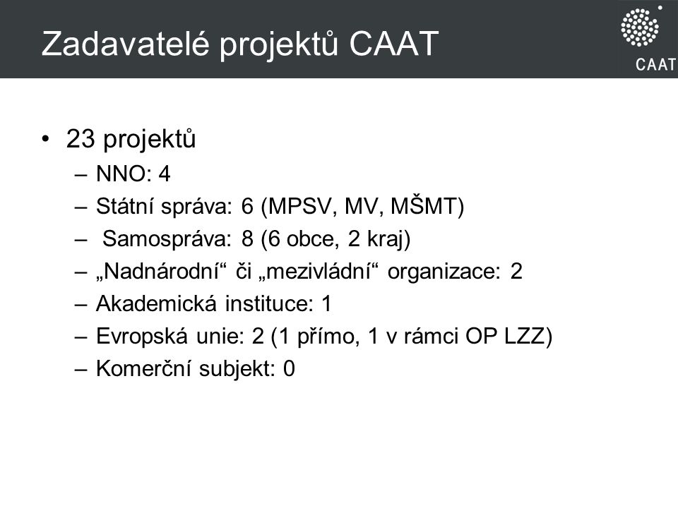 Zadavatelé projektů CAAT