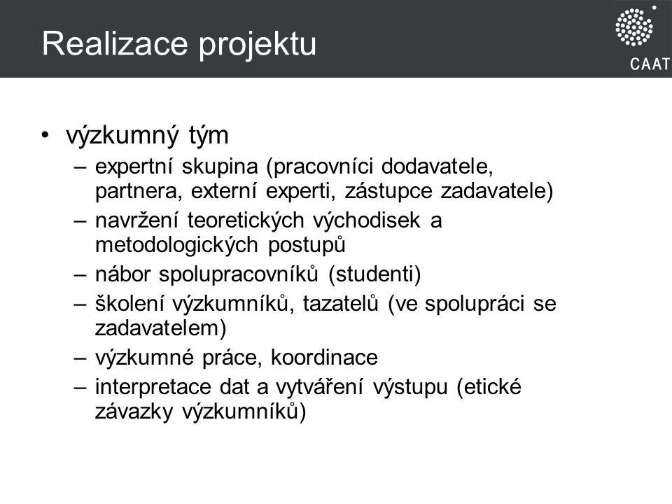 Realizace projektu výzkumný tým