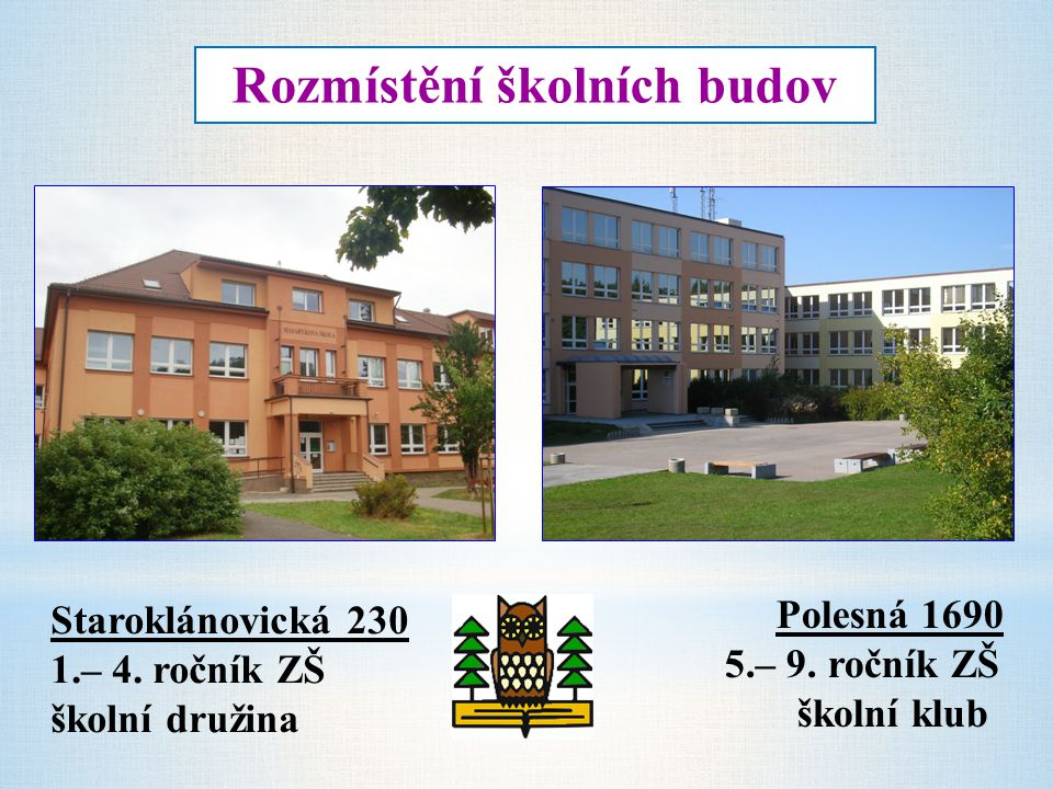 Rozmístění školních budov