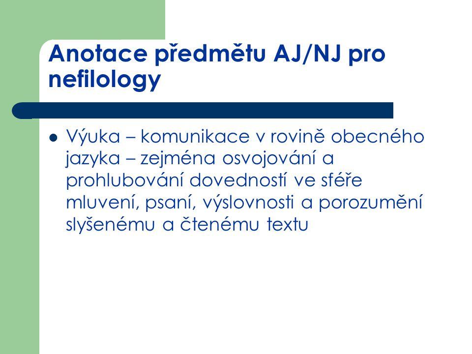 Anotace předmětu AJ/NJ pro nefilology