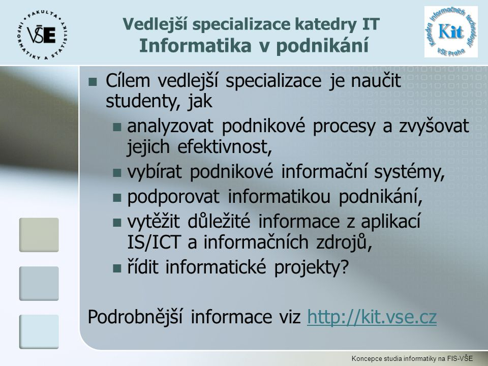 Vedlejší specializace katedry IT Informatika v podnikání
