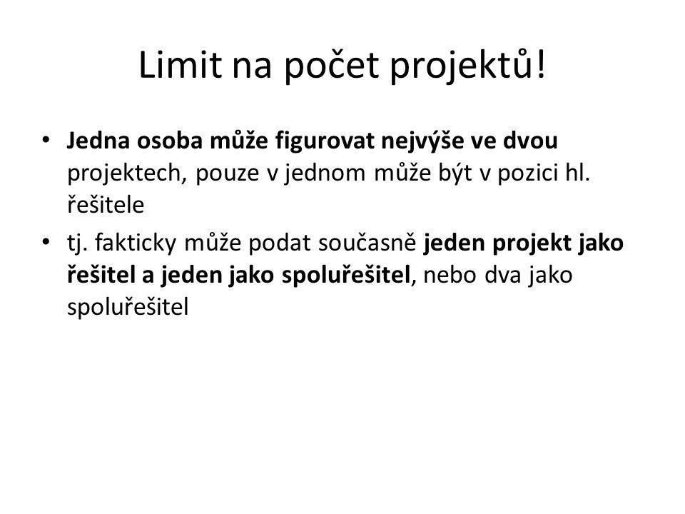 Limit na počet projektů!