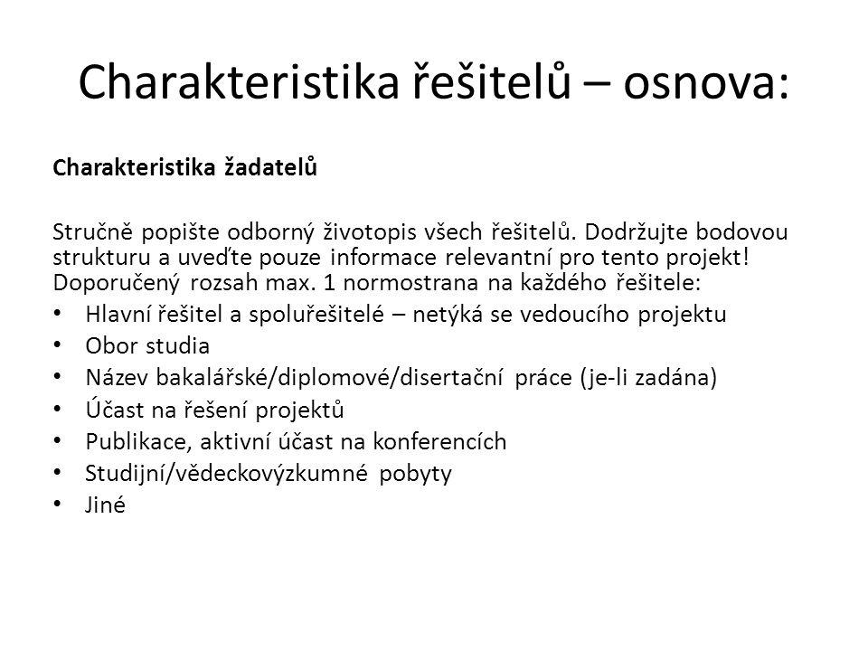 Charakteristika řešitelů – osnova: