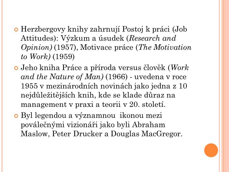 Herzbergovy knihy zahrnují Postoj k práci (Job Attitudes): Výzkum a úsudek (Research and Opinion) (1957), Motivace práce (The Motivation to Work) (1959)