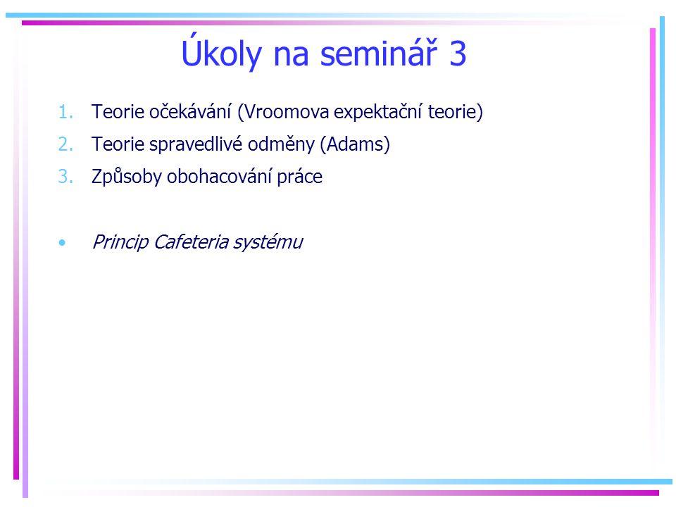 Úkoly na seminář 3 Teorie očekávání (Vroomova expektační teorie)