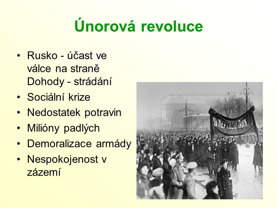 Únorová revoluce Rusko - účast ve válce na straně Dohody - strádání