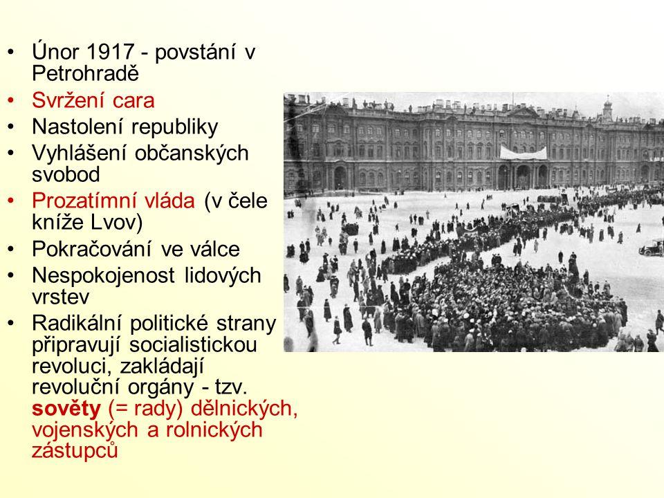 Únor 1917 - povstání v Petrohradě