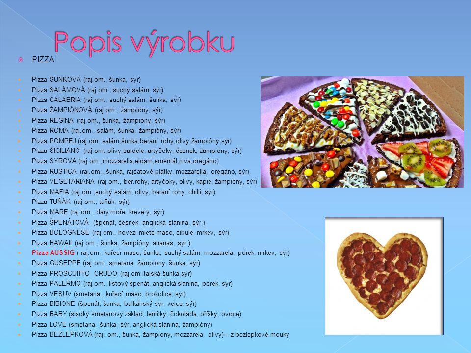 Popis výrobku PIZZA: Pizza ŠUNKOVÁ (raj.om., šunka, sýr)