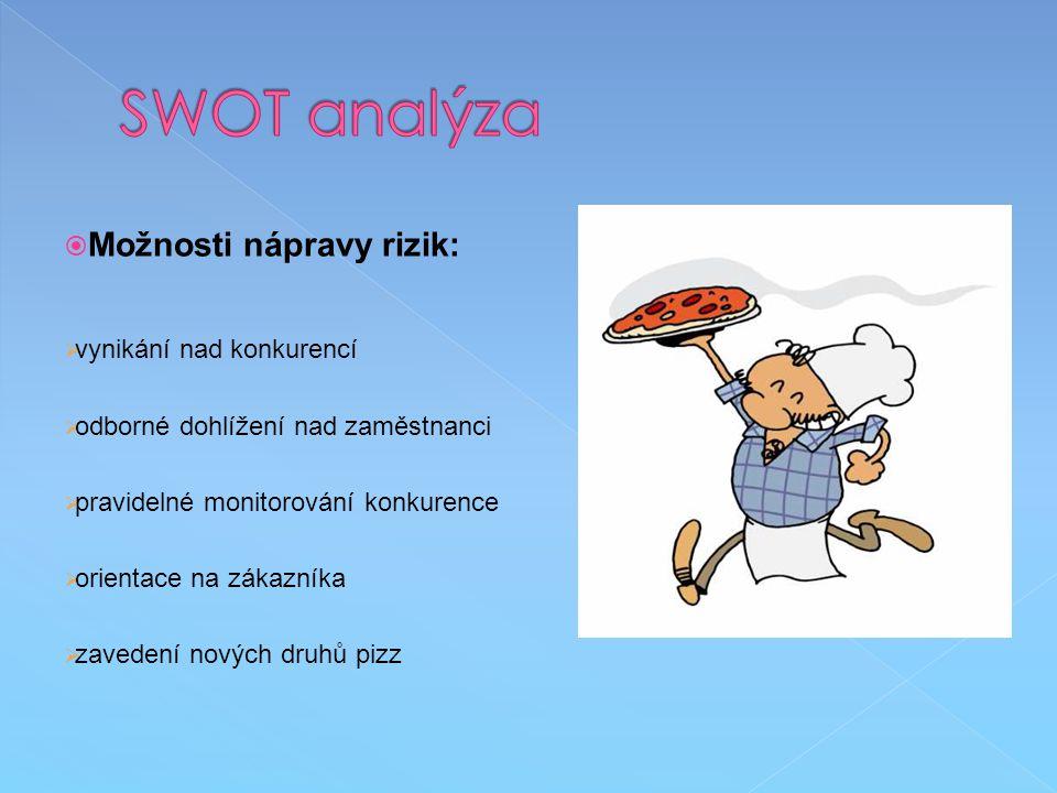 SWOT analýza Možnosti nápravy rizik: vynikání nad konkurencí