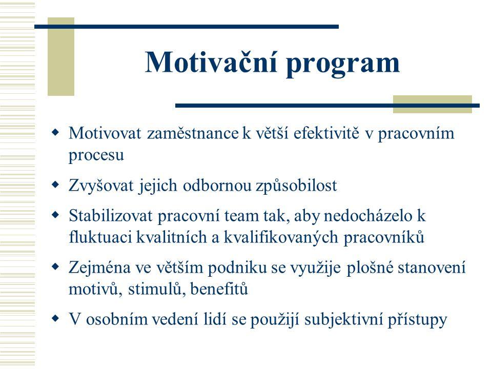 Motivační program Motivovat zaměstnance k větší efektivitě v pracovním procesu. Zvyšovat jejich odbornou způsobilost.