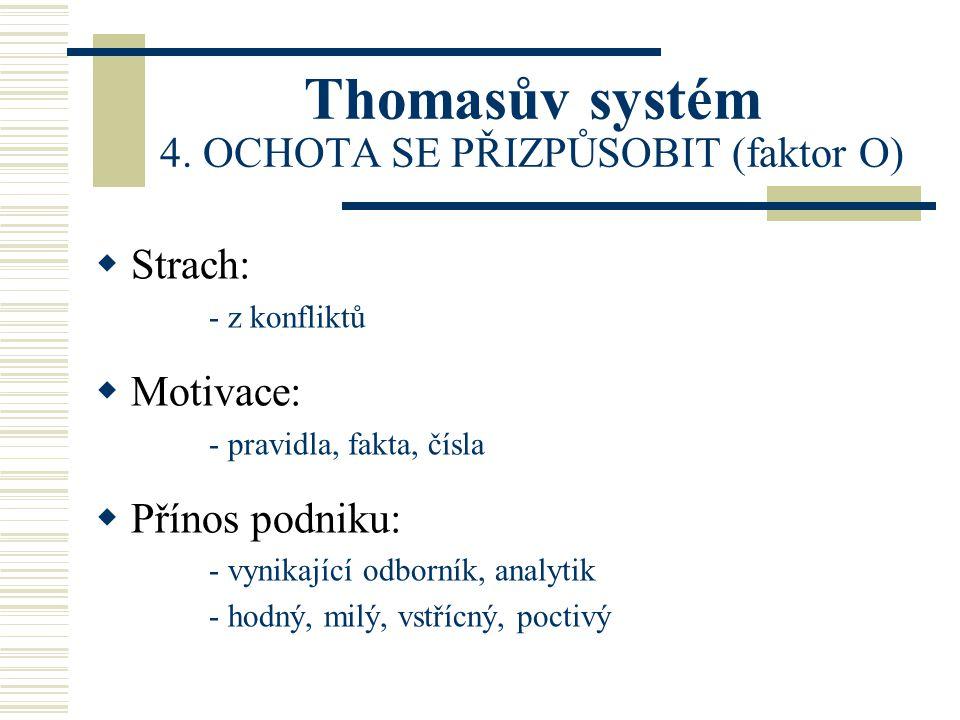 Thomasův systém 4. OCHOTA SE PŘIZPŮSOBIT (faktor O)