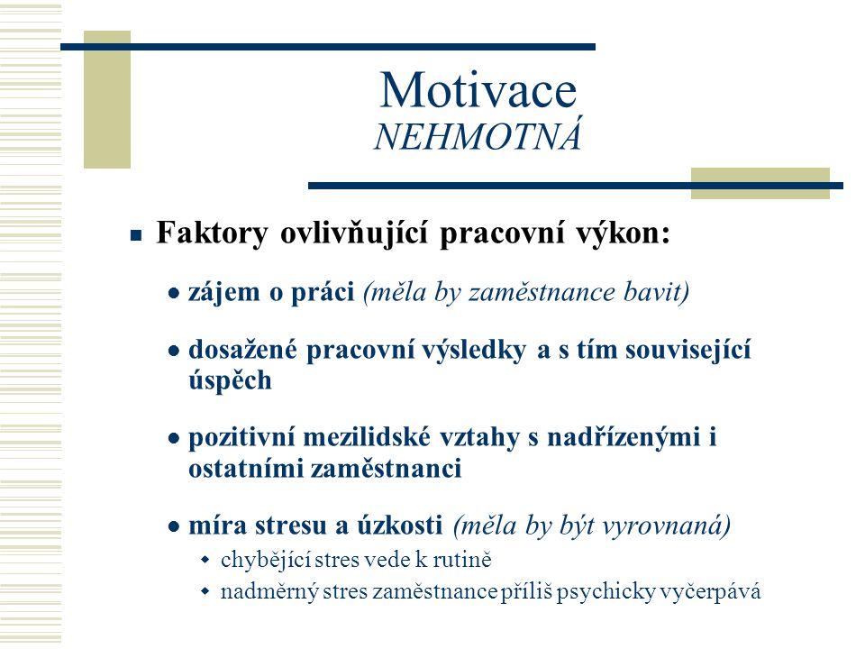 Motivace NEHMOTNÁ Faktory ovlivňující pracovní výkon: