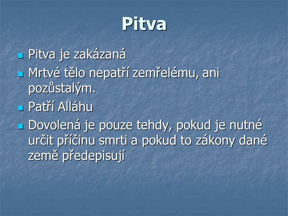 Pitva Pitva je zakázaná Mrtvé tělo nepatří zemřelému, ani pozůstalým.