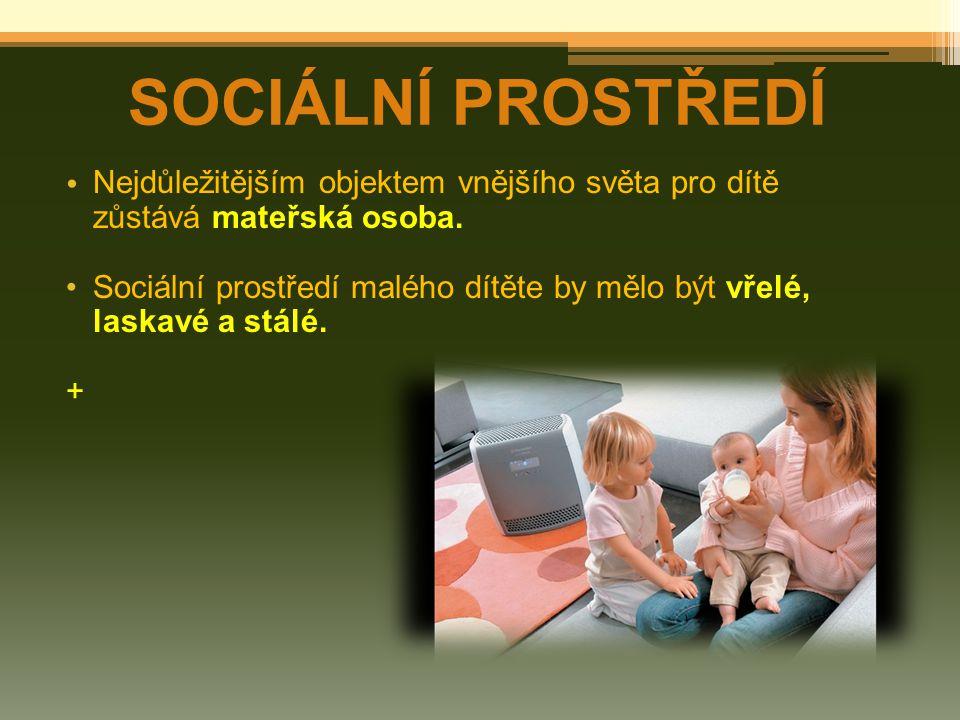 SOCIÁLNÍ PROSTŘEDÍ Nejdůležitějším objektem vnějšího světa pro dítě
