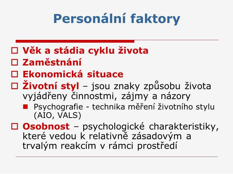 Personální faktory Věk a stádia cyklu života Zaměstnání
