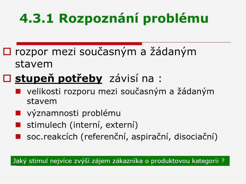4.3.1 Rozpoznání problému rozpor mezi současným a žádaným stavem
