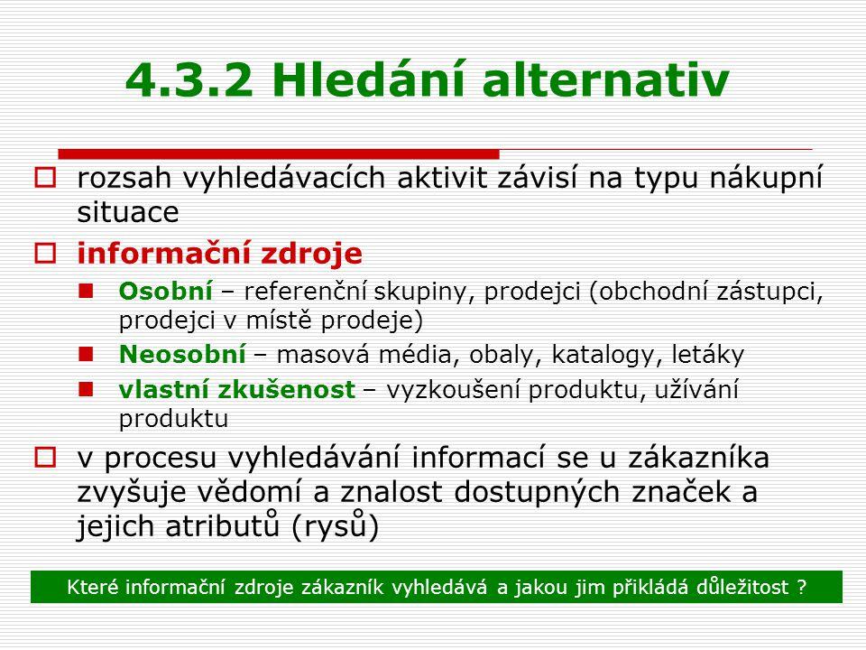 4.3.2 Hledání alternativ rozsah vyhledávacích aktivit závisí na typu nákupní situace. informační zdroje.