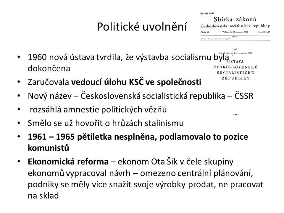 Politické uvolnění 1960 nová ústava tvrdila, že výstavba socialismu byla dokončena. Zaručovala vedoucí úlohu KSČ ve společnosti.