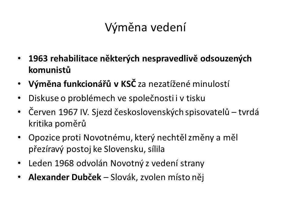 Výměna vedení 1963 rehabilitace některých nespravedlivě odsouzených komunistů. Výměna funkcionářů v KSČ za nezatížené minulostí.