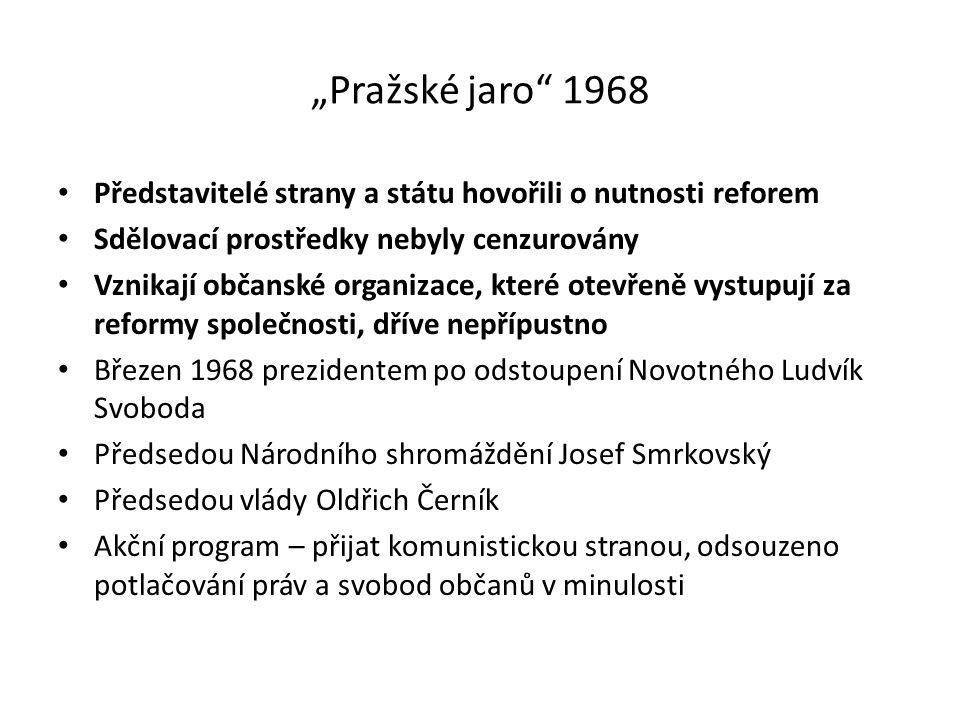 """""""Pražské jaro 1968 Představitelé strany a státu hovořili o nutnosti reforem. Sdělovací prostředky nebyly cenzurovány."""